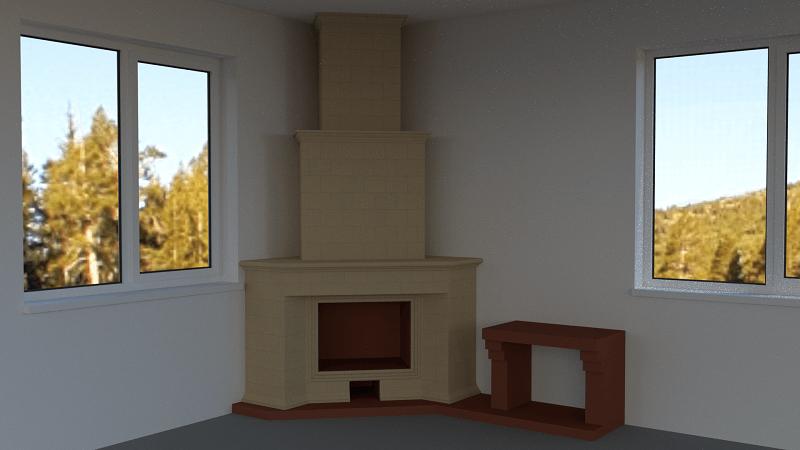 Угловой камин (3D модель)